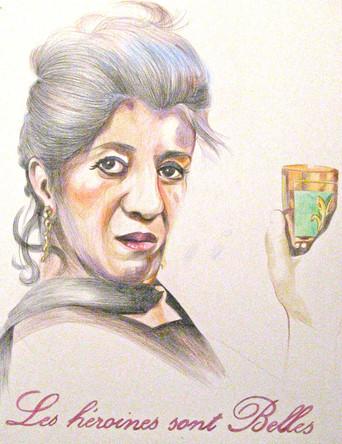 Les héroines sont belles, Biyouna, dessin sur papier Canson, crayons aquarelle, 65/50 cm, 2011