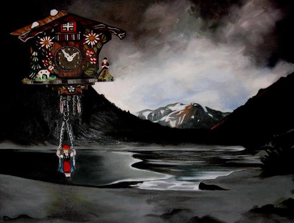 Rencontre fortuite entre un Friedrich et un coucou Suisse 2, 2013, Huile sur toile, 80/100 cm
