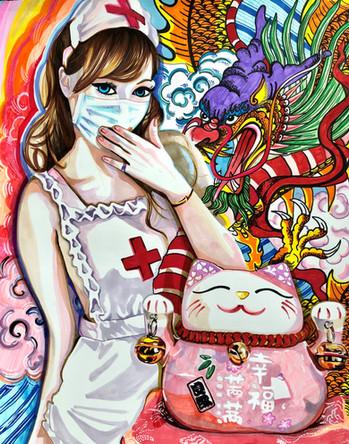 Xiu. Infirmiere, Nurse 15, 2020, promarkers et feutres sur papier Canson, 65/50 cm