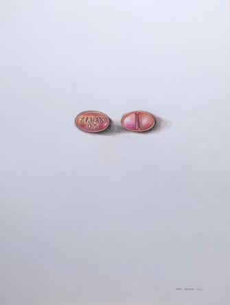 Antidepresseurs 2, dessin sur papier Canson, crayons aquarelle sur papier, 65/50 cm, 2015