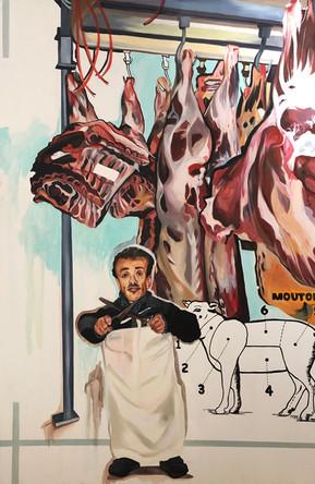 Moussa mon boucher nain, 2013, Huile sur toile, 180/130 cm
