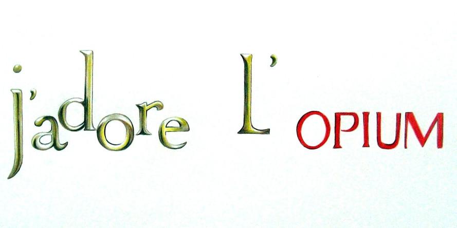J'adore_l'Opium,ier Canson, crayons de couleurs,50/65 cm, 2013