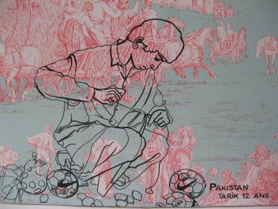 Tarik, 2003, huile sur papier peint marouflé sur toile, 25/37 cm