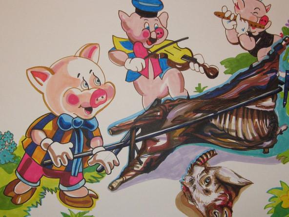 Les 3 petits cochons, dessin sur papier Canson, feutres et marqueurs, 50/65 cm, 2015