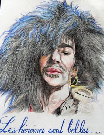 Les heroines sont belles, John Galliano, dessin sur papier Canson, crayons aquarelle, 65/50 cm, 2011