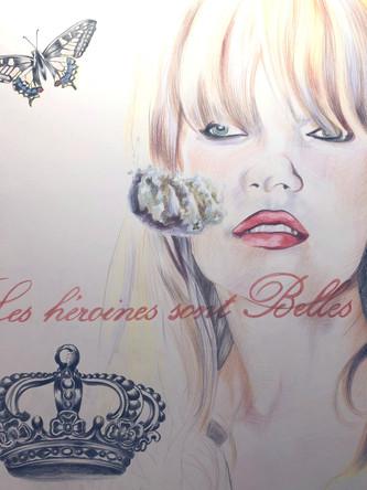 Les heroines sont belles, Kate Moss,dessin sur papier Canson, crayons aquarelle, 65/50 cm, 2011