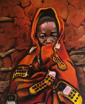 Téléphonie, 2003, huile sur toile, 92/73 cm