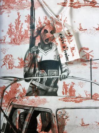 Côte d'Ivoire, dessin sur sac en papier, crayons, 40/25 cm, 2007
