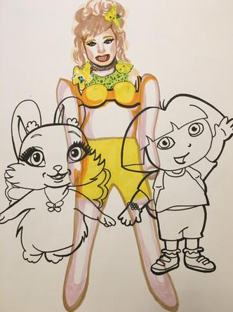 Petite reine de beauté 6, dessin sur papier Canson, feutres et marqueurs, 65/50 cm, 2011