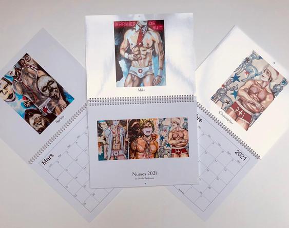 """""""Nurses 2021"""" by Nadia Benbouta, Calendrier 28/37 cm, edition limitée à 100 exemplaires signés et numérotés par l'artiste"""