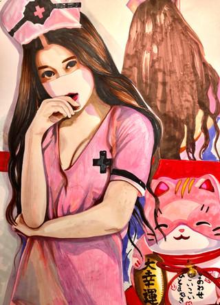 Aya. Infirmiere, Nurse 16, 2020, promarkers et feutres sur papier Canson, 65/50 cm
