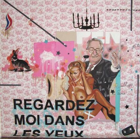 Amalgames 8 ou Regardez moi dans les yeux, 2007, Huile sur toile accrochée sur papier peint, 270/250 cm
