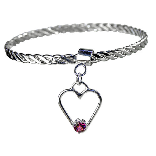 925 Sterling Silver Twist Weave Bangle with Heart Charm and Rhodolite Garnet