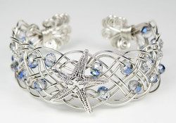 Sterling Silver Starfish Woven Cuff Bracelet