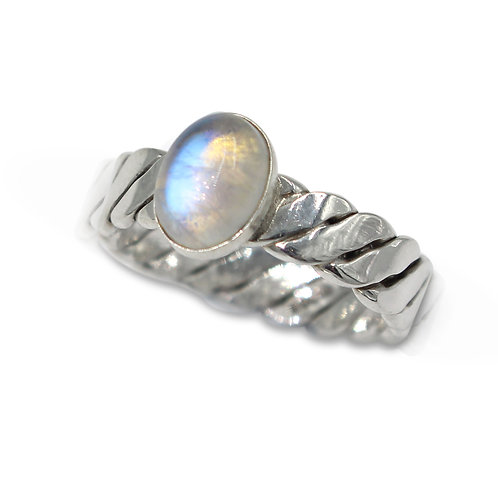 925 Sterling Silver Twist Weave Band Ring with Oval Moonstone Cabochon