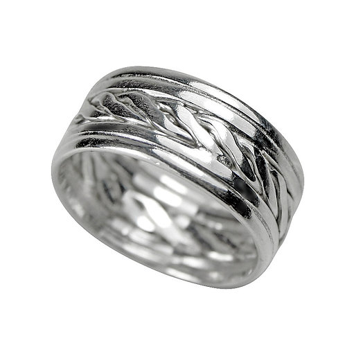 925 Sterling Silver Woven Celtic Band Ring 8mm Deep