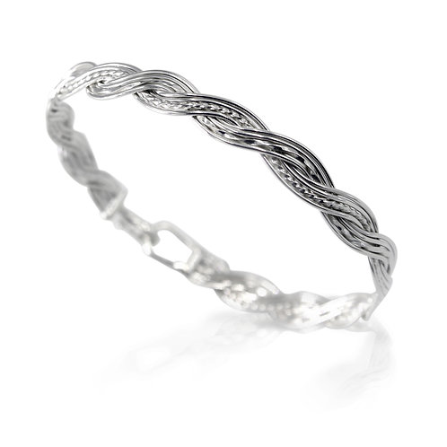 925 Sterling Silver Woven Wave Bracelet with Simple Hook Clasp