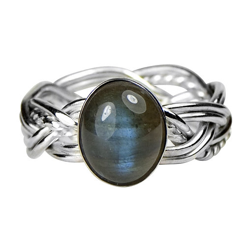 925 Sterling Silver Three Strand Woven Band Ring with Labradorite
