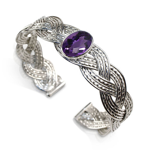 925 Sterling Silver Three Strand Woven Cuff with Faceted Checkerboard Amethyst