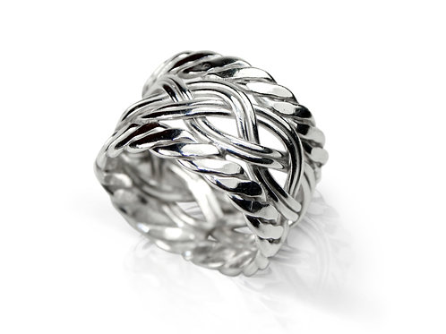 925 Sterling Silver Triple Woven Celtic Band Ring 13mm Deep