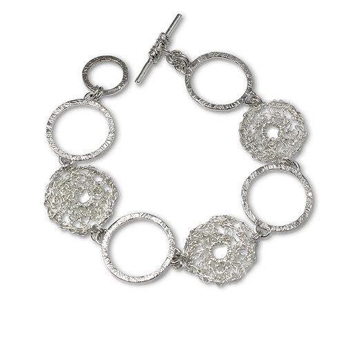 925 Sterling Silver Crocheted and Solid Textured Circles Bracelet
