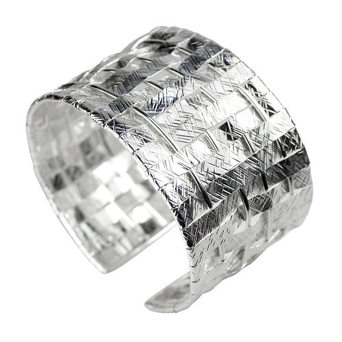925 Sterling Silver and 999 Fine Silver Textured Woven Cuff Bracelet