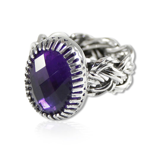 925 Sterling Silver Basket Weave Statement Ring with Faceted Amethyst