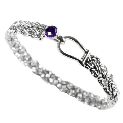 925 Sterling Silver Diagonal Basket Weave Bracelet with Amethyst Set Loop Clasp
