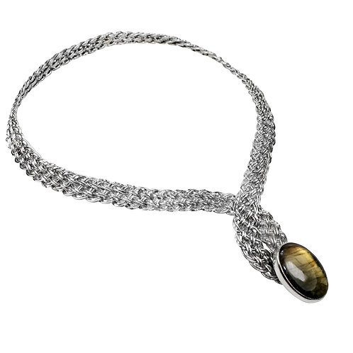 925 Sterling Silver Basket Weave Crossover Torque with Golden Labradorite