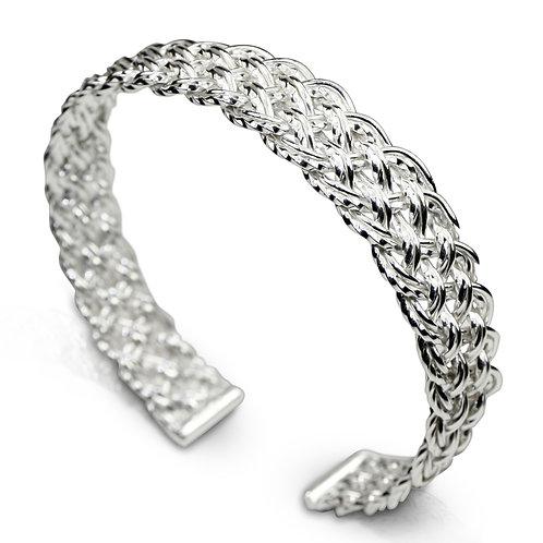 925 Sterling Silver Diagonal Basket Weave Open Cuff Bracelet