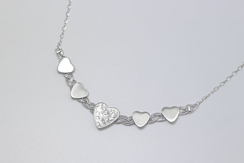 Sterling Silver Five Hearts Woven Necklace