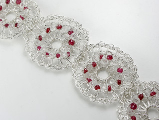 Crocheted Bracelet with Rubies and Quartz