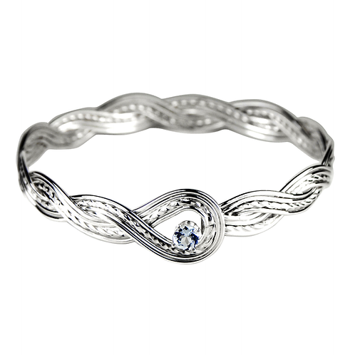 925 Sterling Silver Woven Wave Looped Bangle with Aquamarine Gemstone
