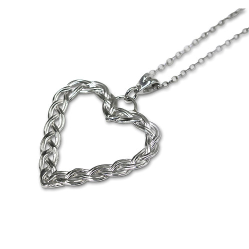 Sterling Silver Woven Heart Pendant on Trace Chain