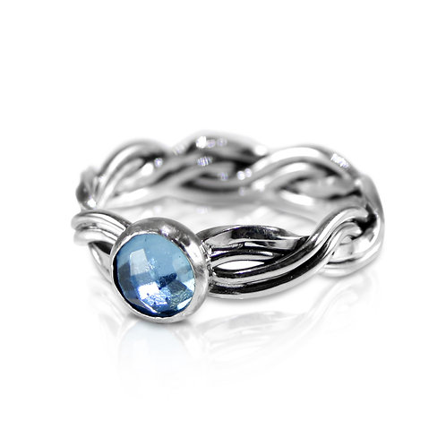 925 Sterling Silver Twisted Four Strand Woven Ring with Swiss Blue Topaz