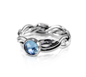 R24 - Twisted four strand woven band ring with 6mm checkerboard Swiss Blue Topaz front vie