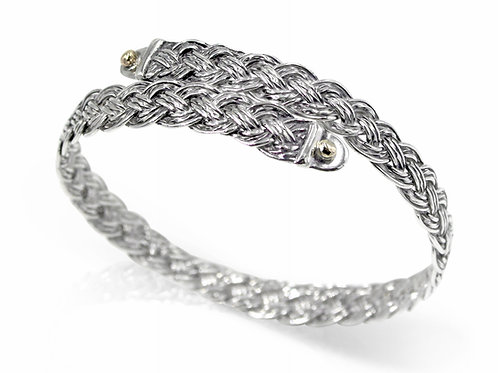 925 Sterling Silver Diagonal Basket Weave Crossover Bangle with 9ct Gold Accents
