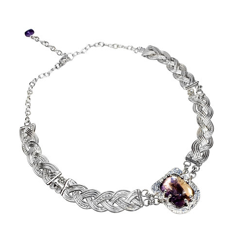 925 Sterling Silver Woven Three Strand Linked Celtic Necklace with Ametrine