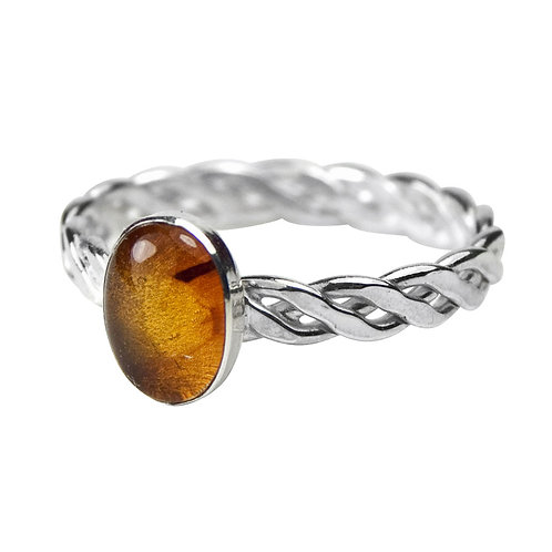 925 Sterling Silver Twist Weave Band Ring with Oval Amber