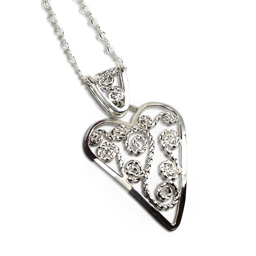 925 Sterling Silver Filigree Curved Heart Pendant with Matching Filigree Bail