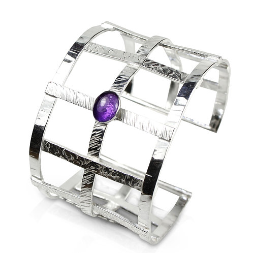 925 Sterling Silver Open Weave Statement Cuff with Amethyst