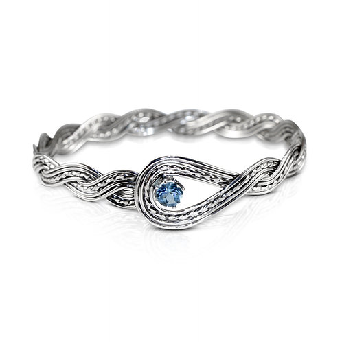 925 Sterling Silver Woven Wave Looped Bangle with Swiss Blue Topaz