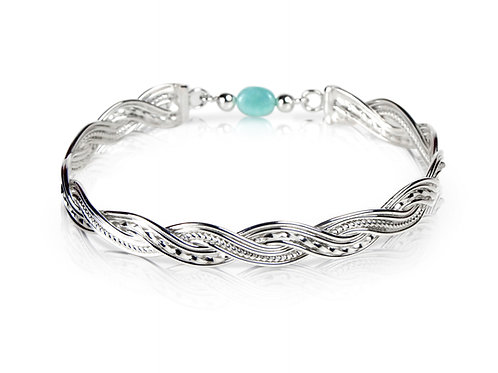 925 Sterling Silver Woven Wave Bangle with Amazonite