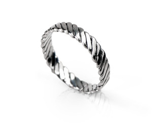 Twisted hammered band ring - tight weave - standing.jpg