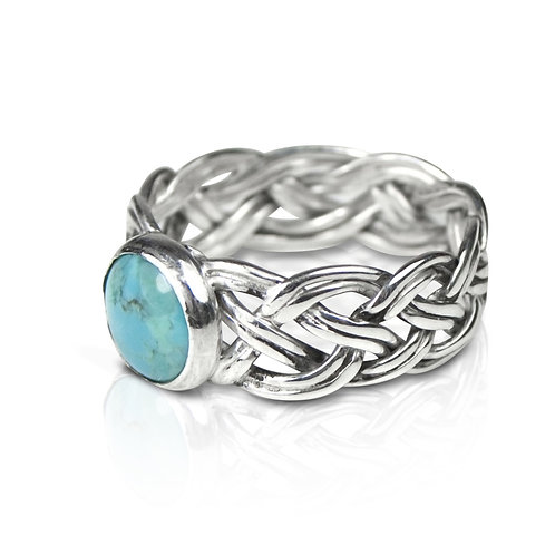 925 Sterling Silver Eight Strand Woven Braided Ring with Turquoise
