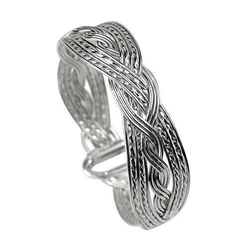 925 Sterling Silver Woven Double Twist Bracelet - Wide