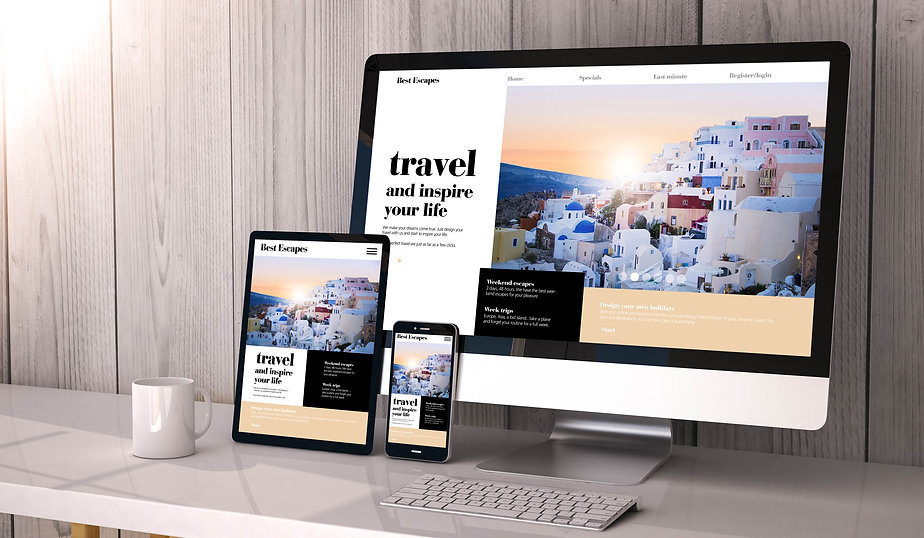 Mac computer ipad and mobile phone showing a designed travel website