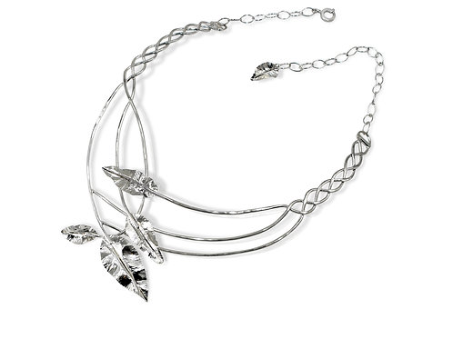 925 Sterling Silver Woven Leaves Statement Necklace