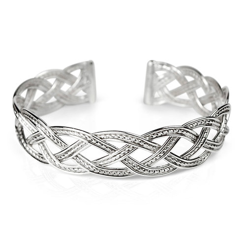 925 Sterling Silver Four Strand Woven Cuff