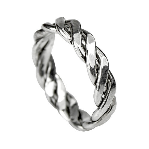 925 Sterling Silver Twist Weave Ring 5mm Deep - Open Weave